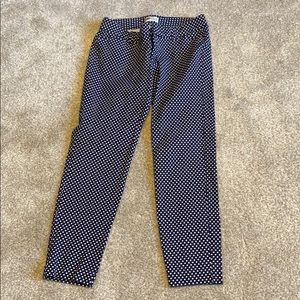Old navy blue and white polka dot pixie pants